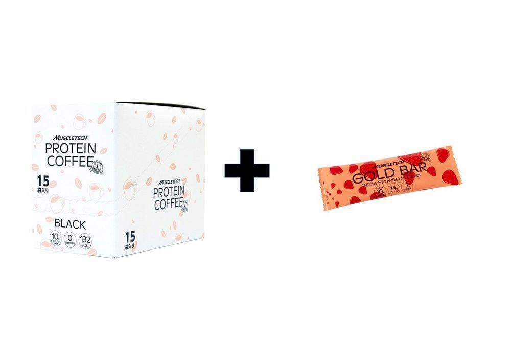 Buy1 Get1 free GOLD BAR  ホワイトストロベリー風味1箱【12本入り】 +MUSCLETECH COFFEEPROTEIN 15g個別包装 1箱(15袋入)