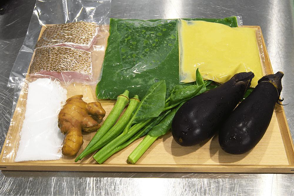 高知県宿毛湾産地直送の鮮魚 白葱のピュレとナス、高知県の有機生姜のグリーンソース 【2人前】(消費税込)