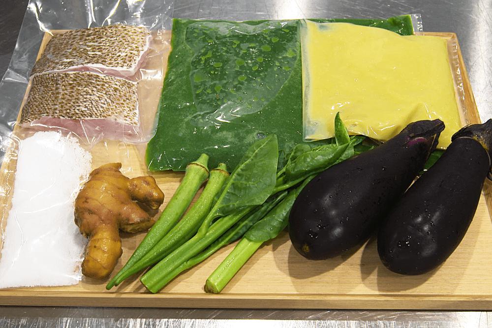 高知県宿毛湾産地直送の鮮魚 白葱のピュレとナス、高知県の有機生姜のグリーンソース 【4人前】(消費税込)