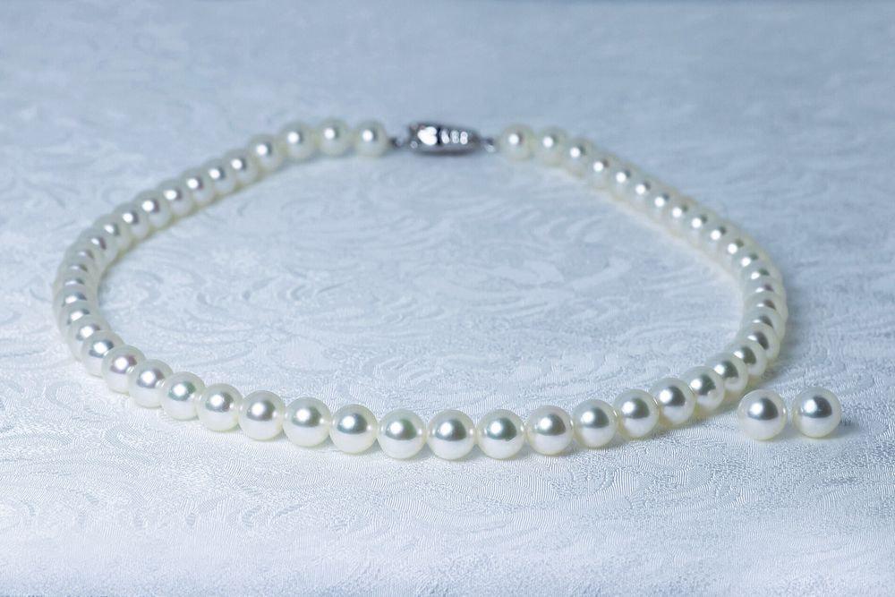 あこや無調色真珠ネックレス 7.5-8.0mm イヤリングorピアスセット