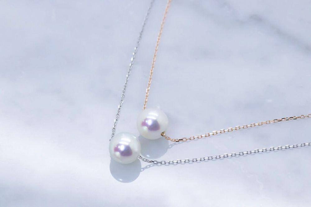 あこや真珠イニシャルネックレス