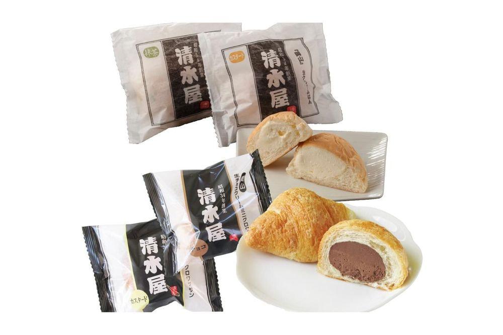岡山 「清水屋」 生クリームパンセット