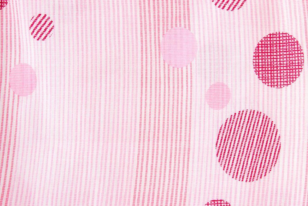 レディース浴衣ピンク水玉模様【品番W008】freeサイズ