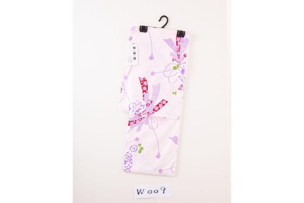 レディース浴衣 紫花柄【品番W009】フリーサイズ