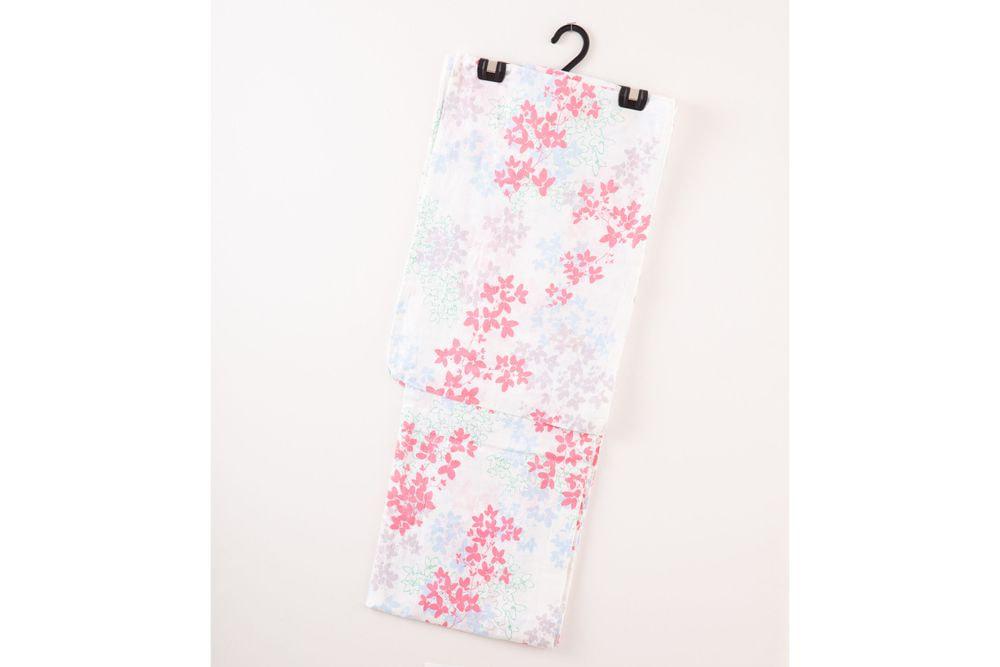 レディース浴衣白色の花柄【品番W010】freeサイズ