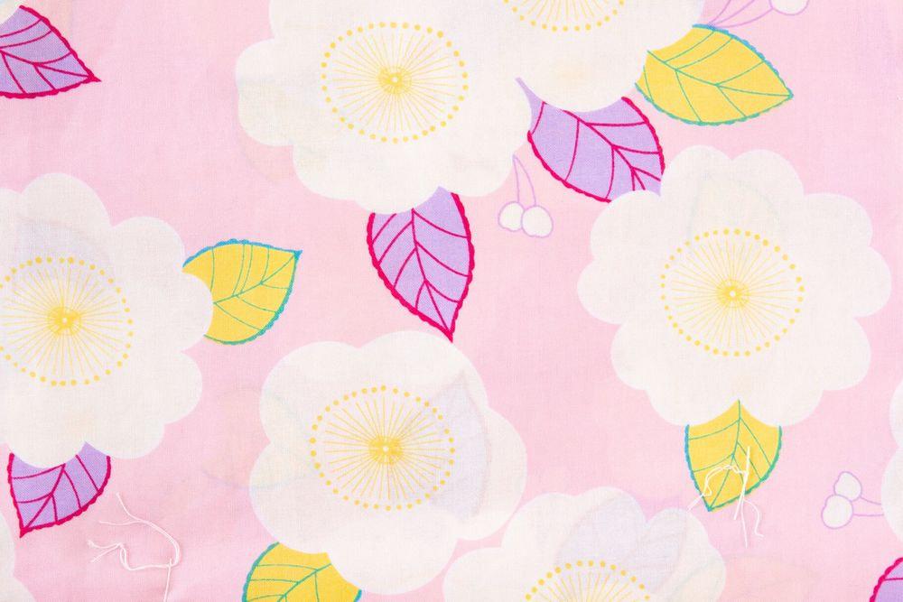 レディース浴衣ピンク地椿の柄【品番W011】freeサイズ