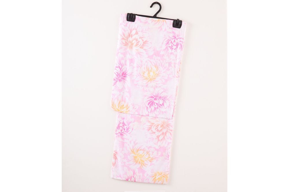 レディース浴衣ピンク地ボタン花の柄【品番W012】freeサイズ