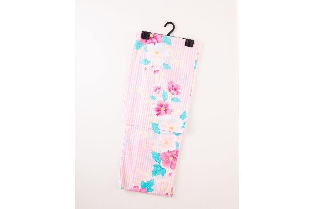 レディース浴衣ピンクボーダー花の柄【品番W016】freeサイズ