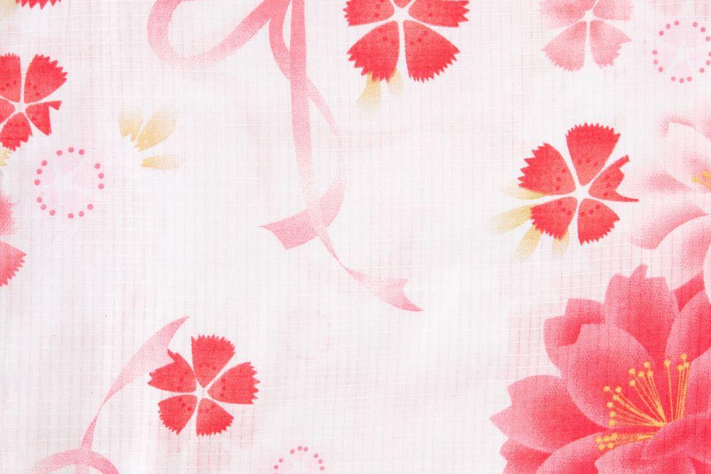レディース浴衣 ピンク花柄【品番W017】フリーサイズ