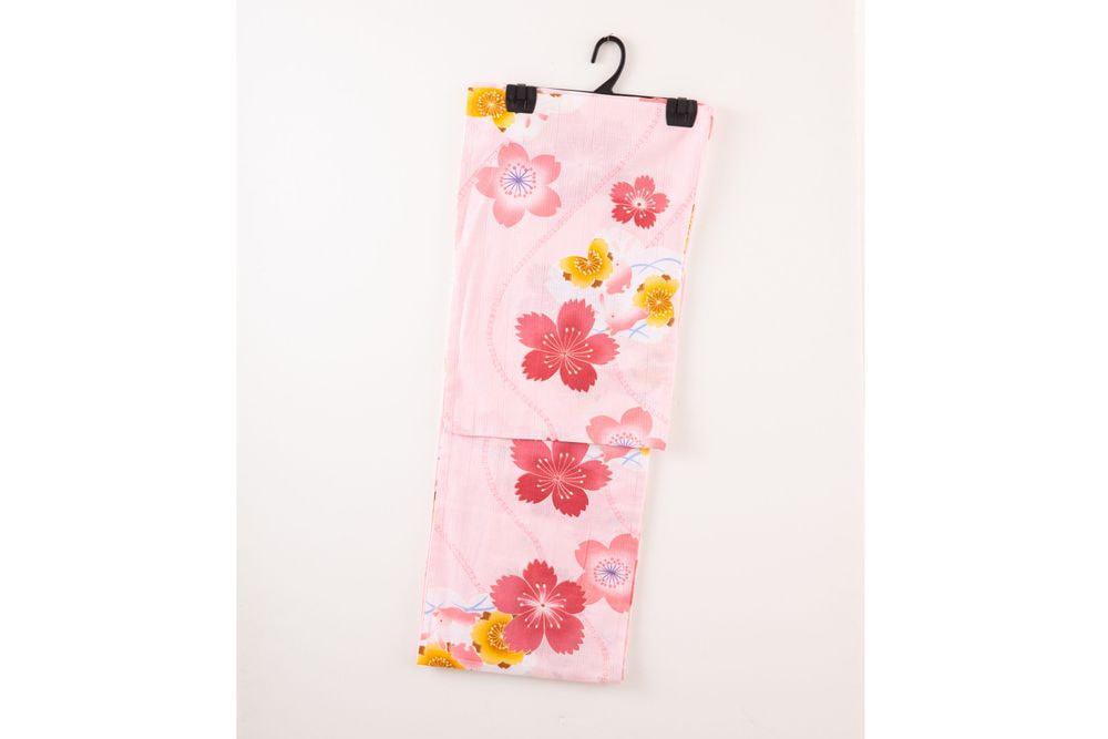 レディース浴衣ピンク花模様【品番W018】freeサイズ