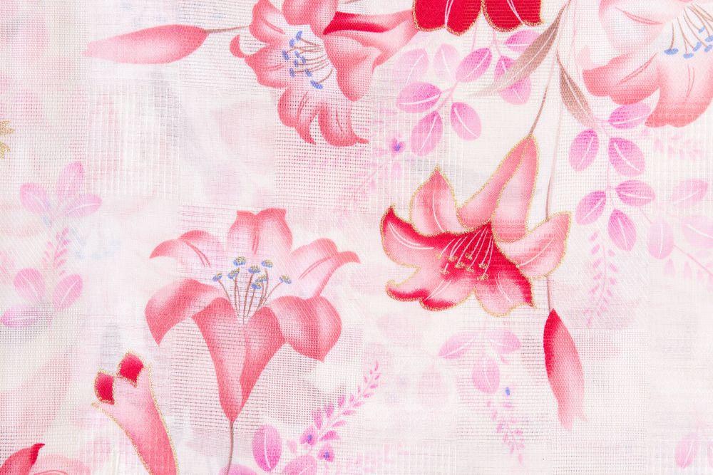 レディース浴衣ピンク地ボタン花の柄【品番W019】freeサイズ