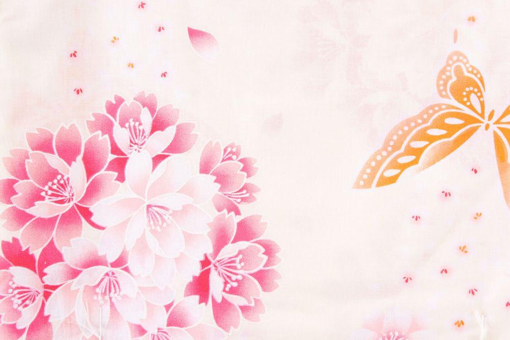 レディース浴衣ピンク花模様【品番W021】freeサイズ
