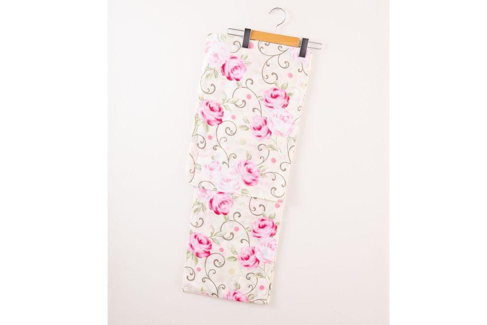 レディース浴衣ピンク花模様【品番W023】freeサイズ