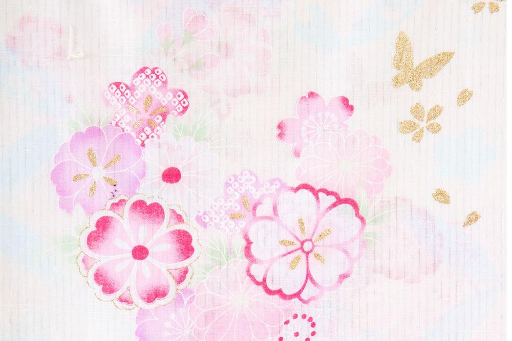 レディース浴衣ピンク花柄【品番W024】freeサイズ