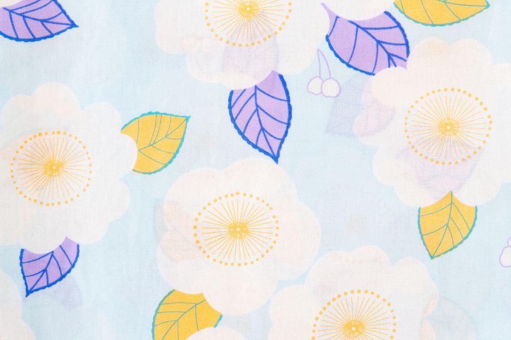 レディース浴衣水色 白色花柄【品番W025】freeサイズ
