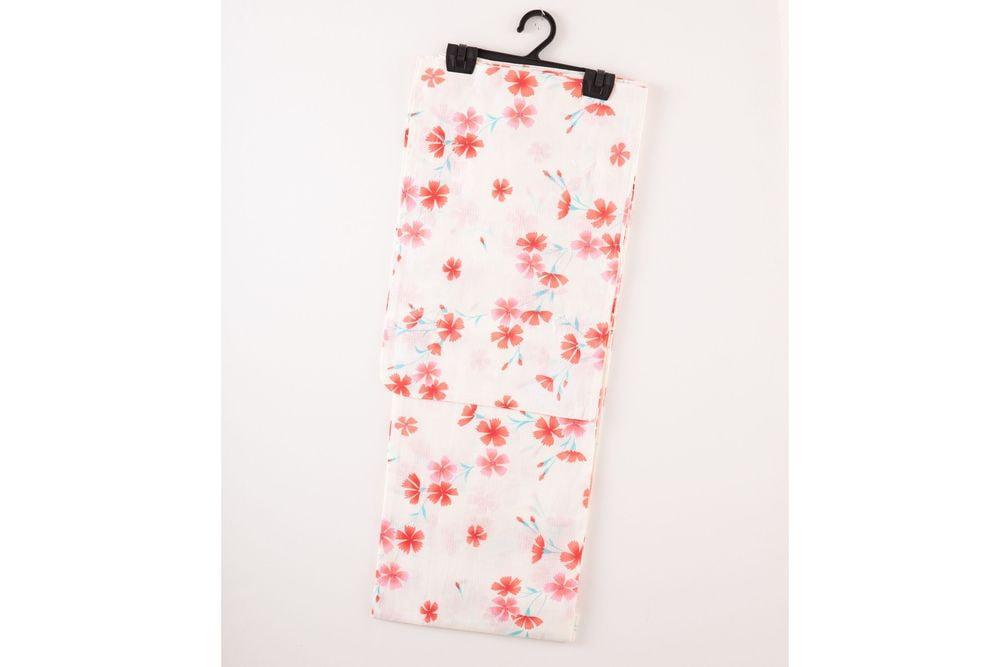 レディース浴衣クリーム色地赤い小花の柄【品番W027】freeサイズ