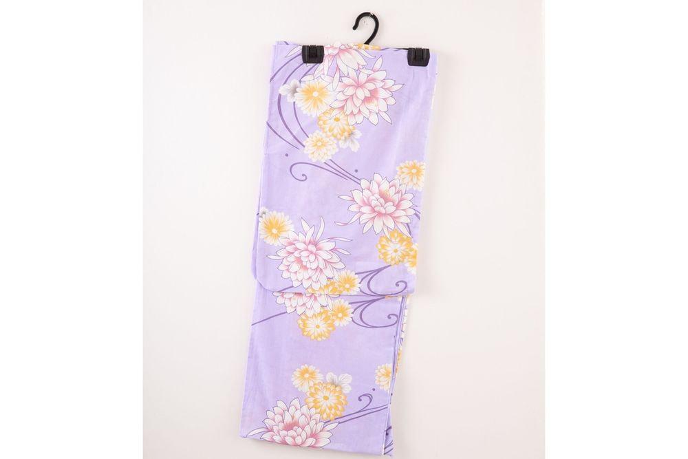 レディース浴衣 紫浴衣 花柄【品番W028】freeサイズ