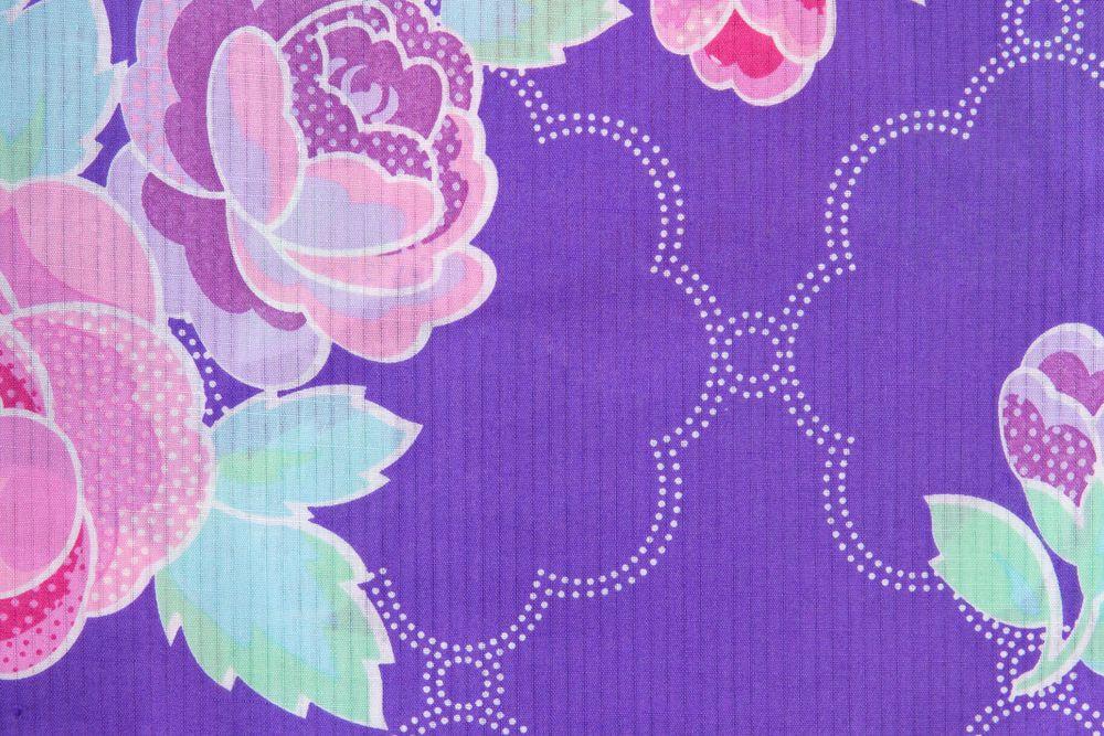 レディース浴衣 紫浴衣 花柄【品番W030】freeサイズ