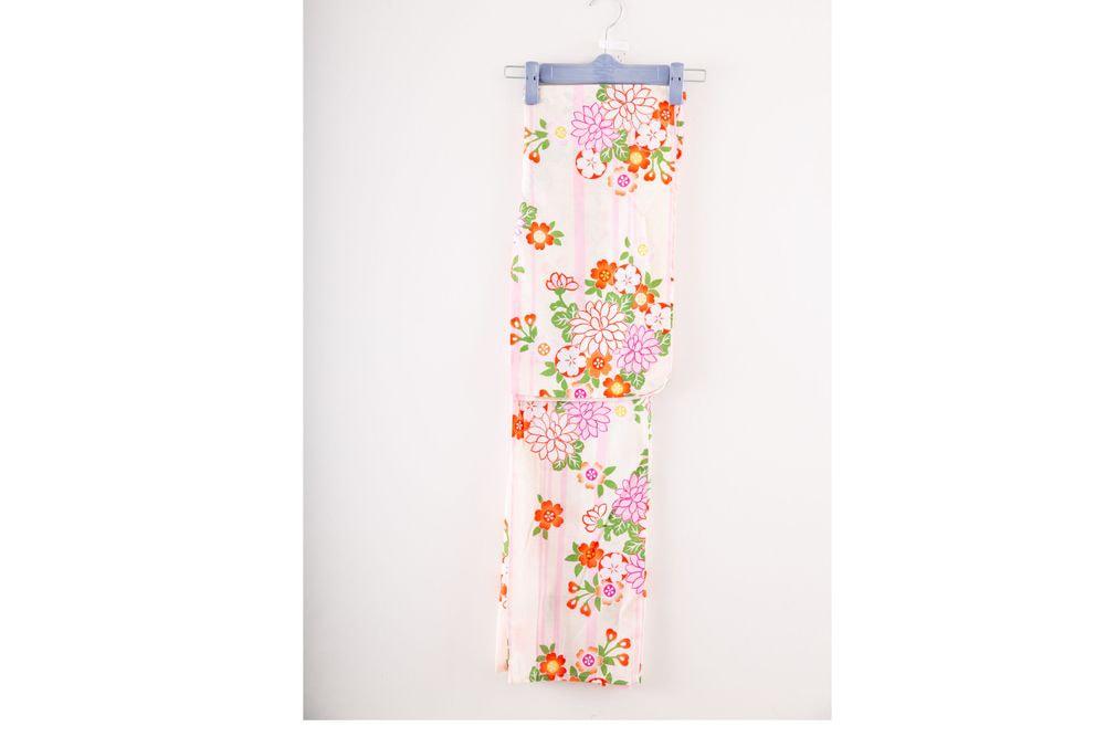 子供サイズ100 女の子浴衣 ピンク縦縞 花柄【品番KDYG40】