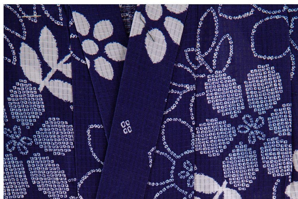 子供サイズ100 女の子浴衣 紺色 藍染花柄 【品番KDYG34】