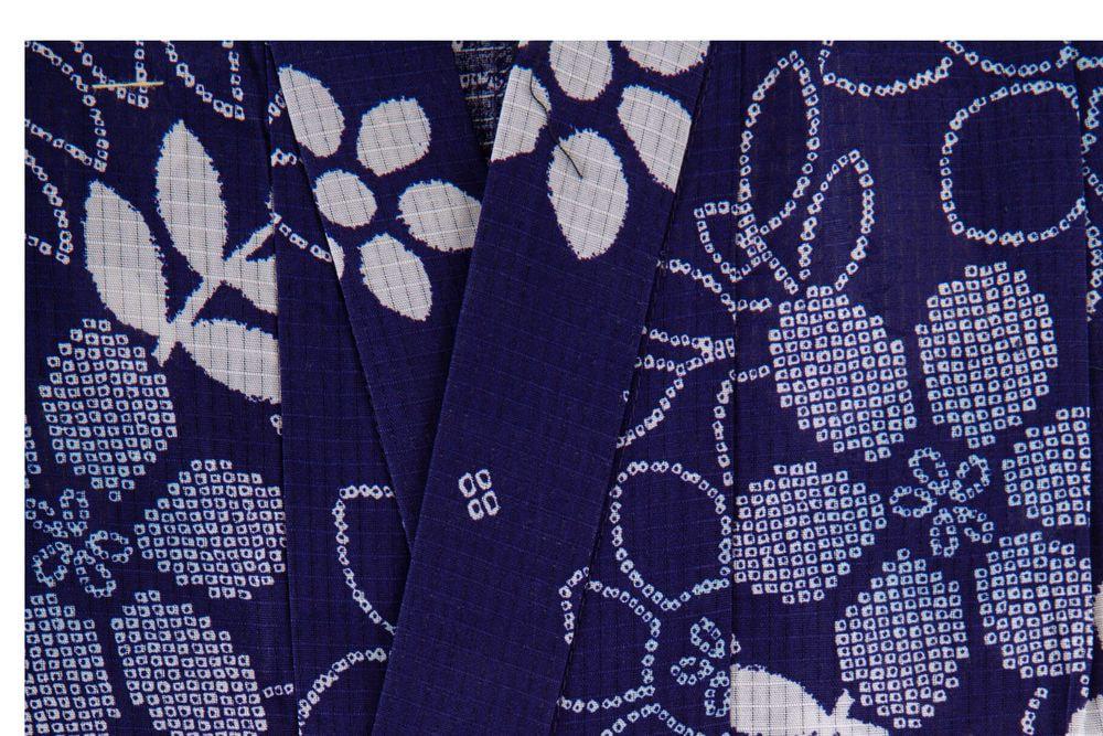 子供サイズ100 女の子浴衣 紺色 藍染花柄 【品番KDYG35】