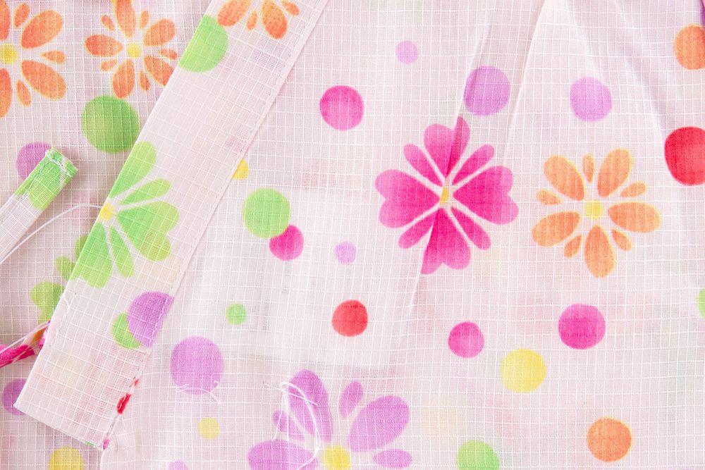 子供サイズ120 女の子甚平 ピンク 花柄 【品番KDJG16】