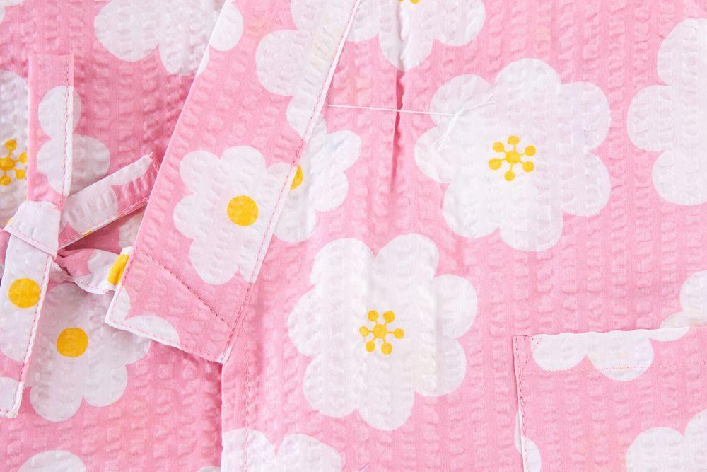 子供サイズ100 女の子甚平 ピンク 花柄 【品番KDJG06】