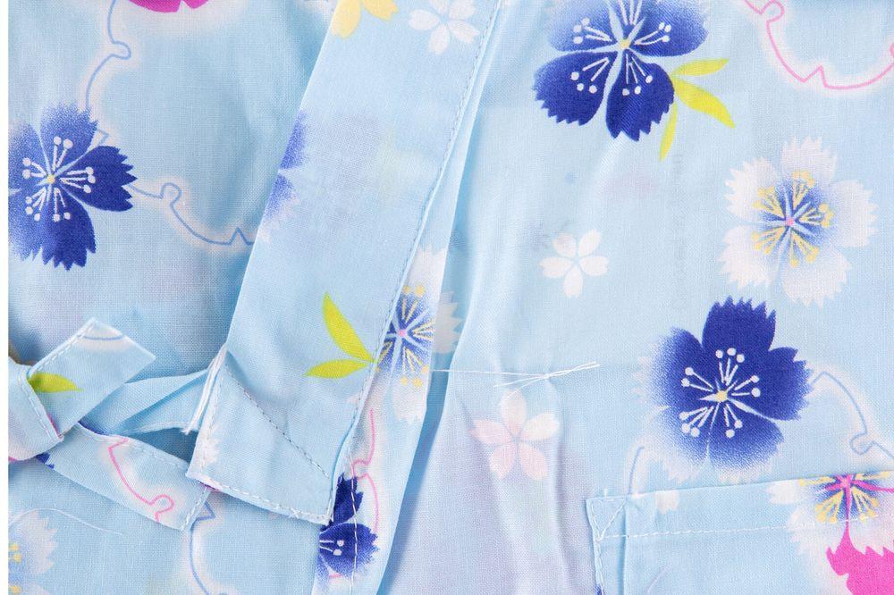 子供サイズ100 女の子甚平 水色 桜 花柄 【品番KDJG05】