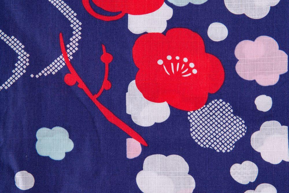 子供サイズ130 女の子浴衣 紺色 花柄 【品番KDYG24】