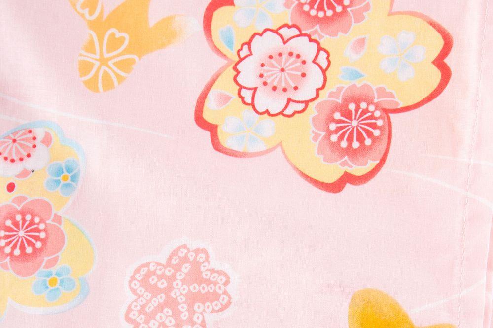 子供サイズ85 女の子浴衣 ピンク 花柄 金魚模様 【品番KDYG11】