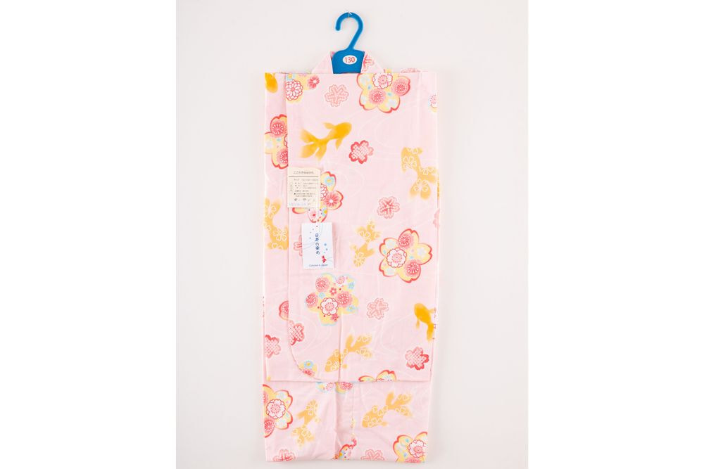 子供サイズ130 女の子浴衣 ピンク 花柄 金魚模様 【品番KDYG23】