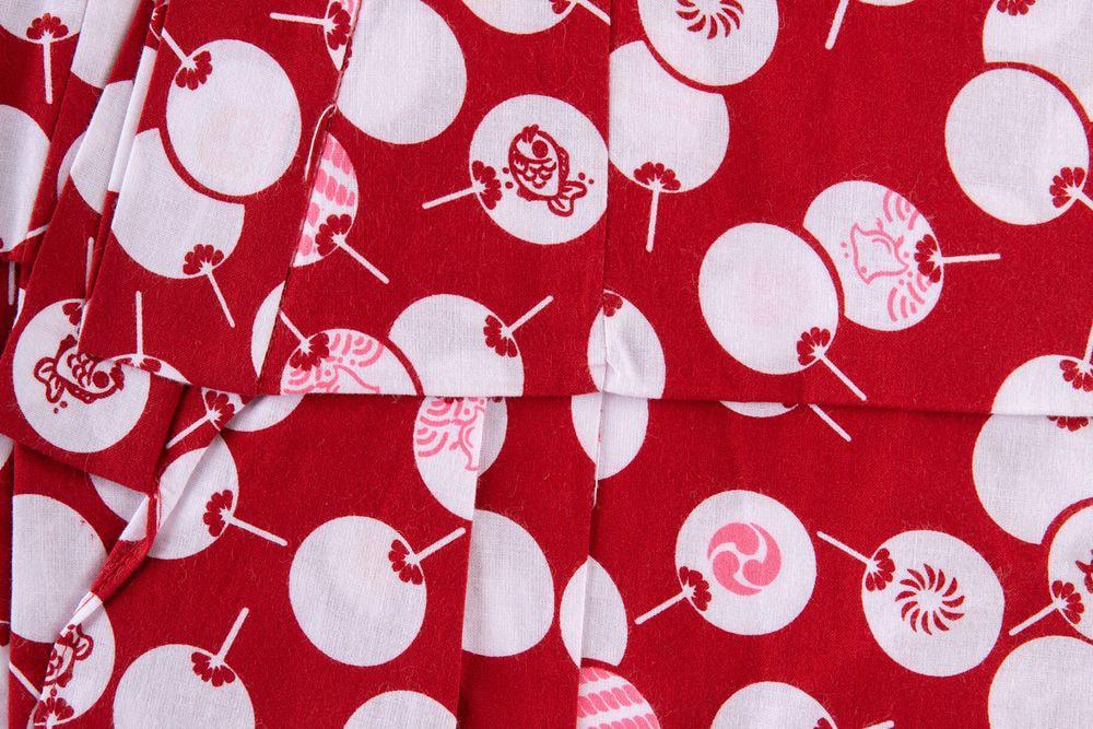 子供サイズ110 女の子浴衣 赤茶色 扇子柄【品番KDYG04】
