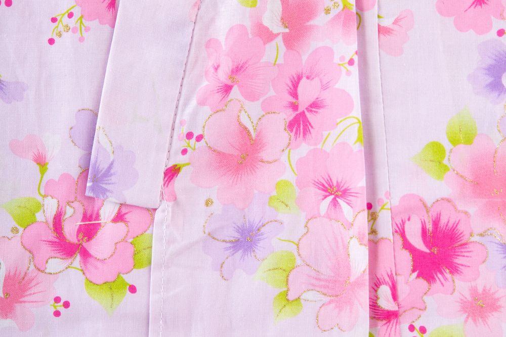 子供サイズ120 女の子浴衣 薄い紫 花柄【品番KDYG19】