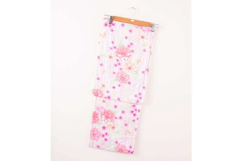 レディース浴衣 ピンク縦縞 花柄【品番W002】Sサイズ (155cm)