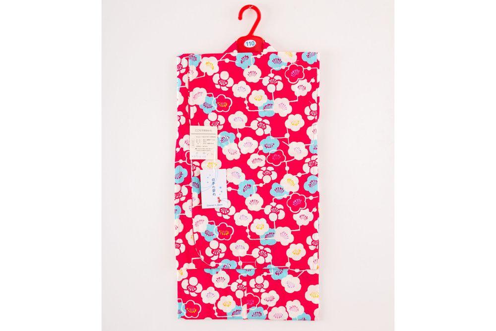 子供サイズ110 女の子浴衣 濃いピンク浴衣 花柄【品番KDYG08】