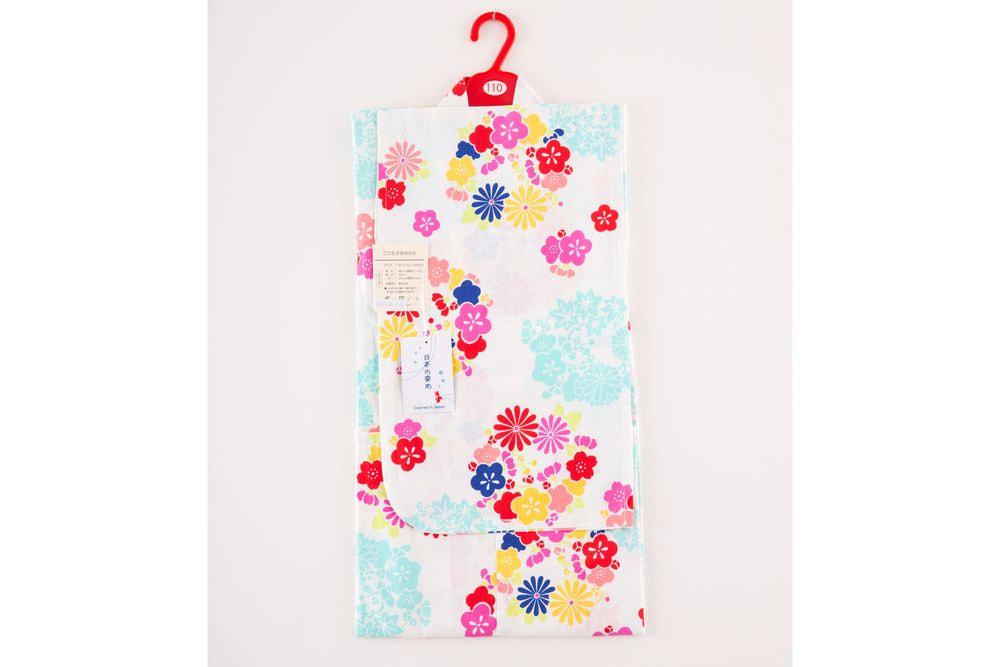 子供サイズ110 女の子浴衣 白色浴衣 花柄【品番KDYG05】