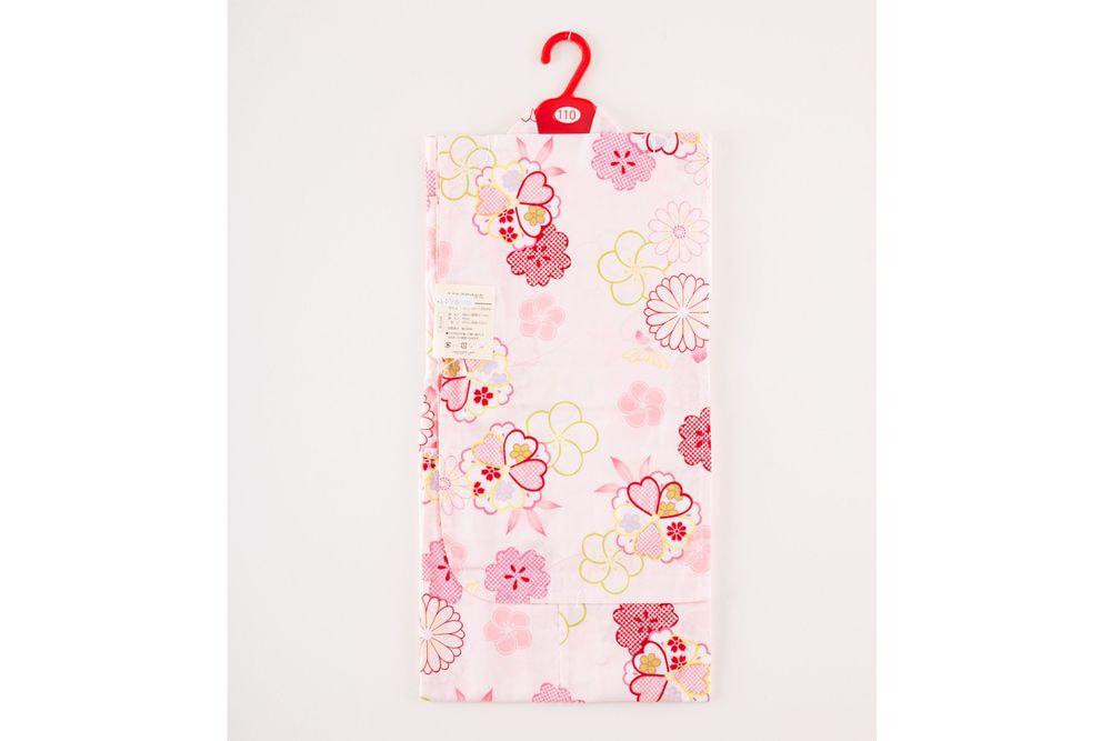子供サイズ110 女の子浴衣 薄いピンク 花柄【品番KDYG10】
