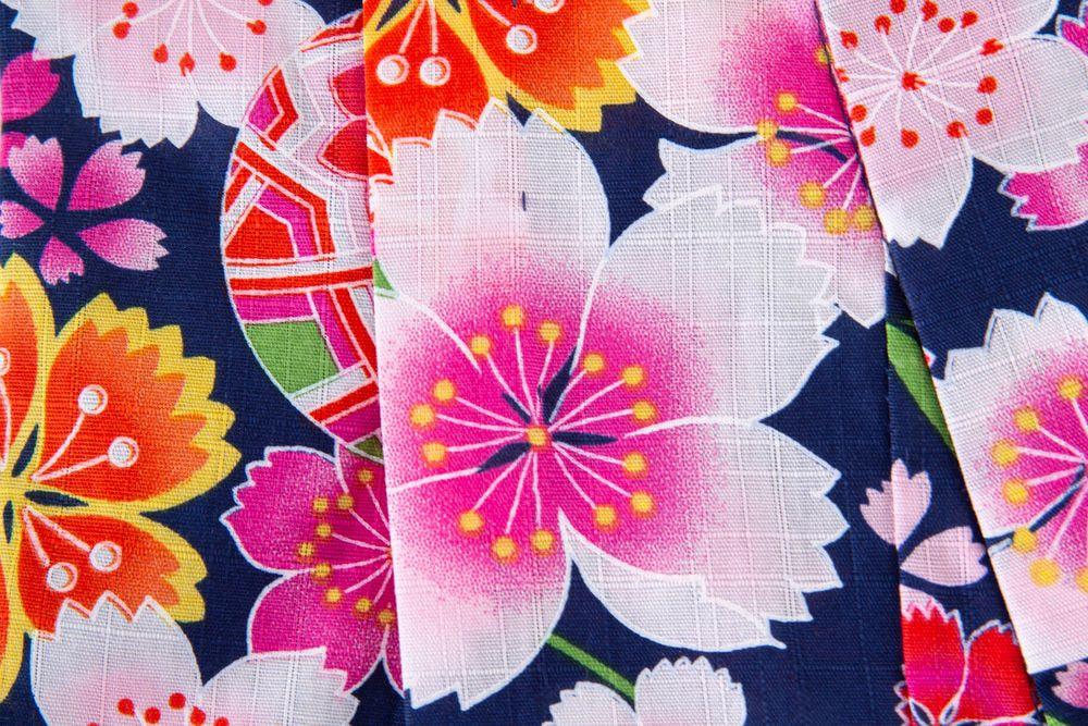 子供サイズ100 女の子浴衣 セット付き 紺色 花柄【品番KDYG32S】