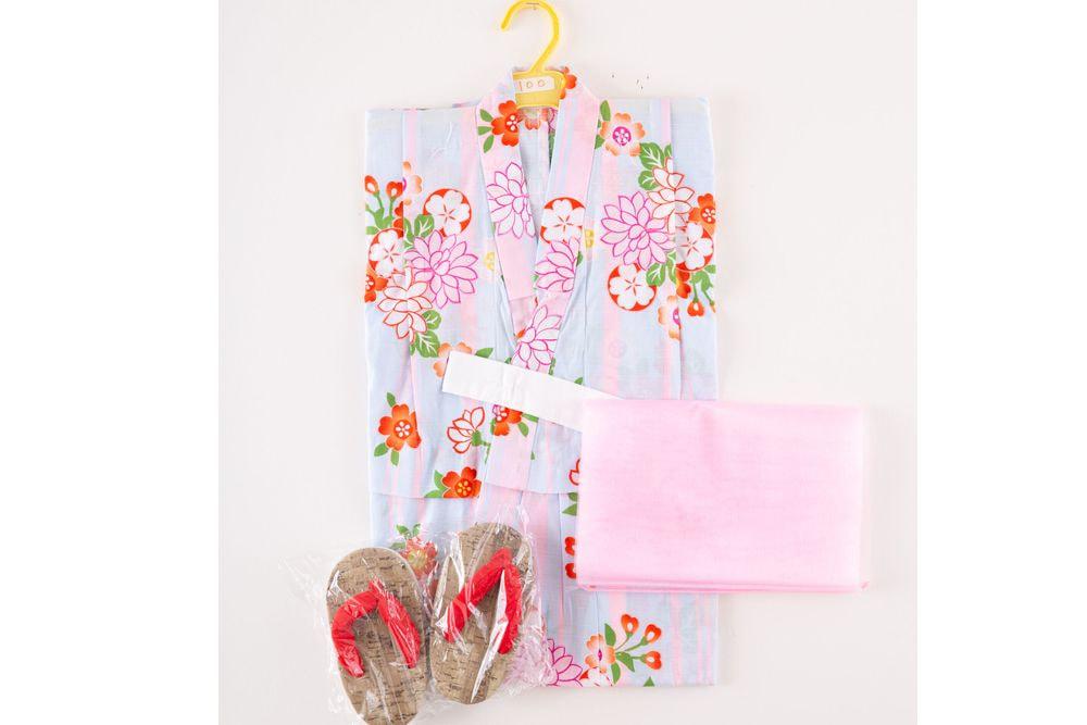 子供サイズ100 女の子浴衣 セット付き 水色  花柄【品番KDYG33S】
