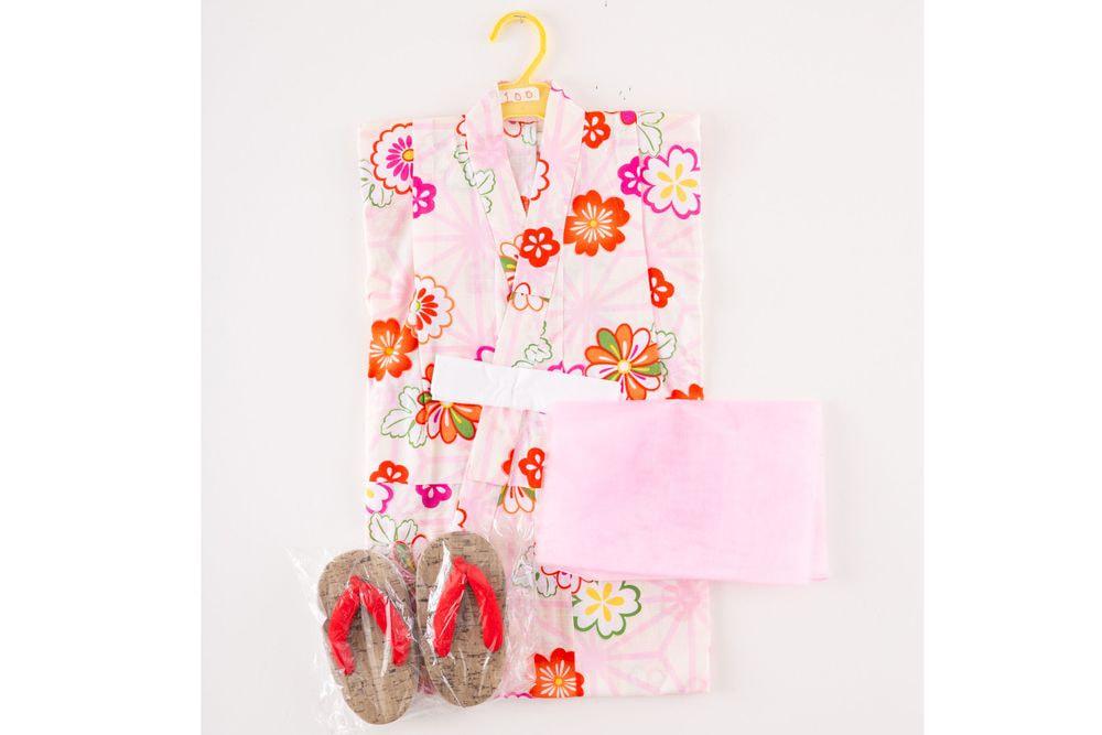 子供サイズ100 女の子浴衣 セット付き クリーム色  花柄【品番KDYG30S】
