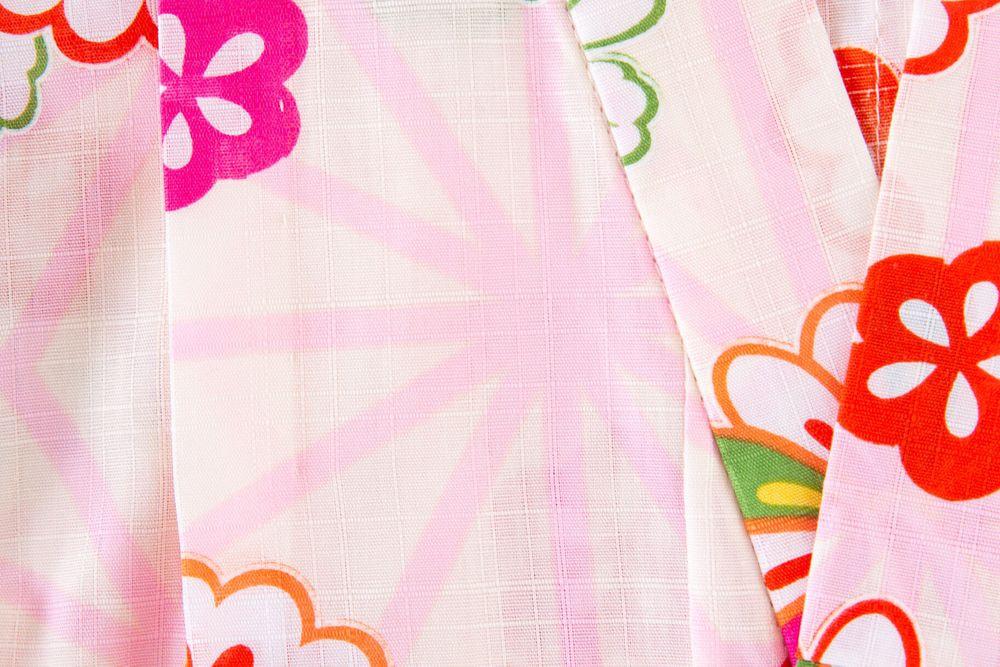 子供サイズ110 女の子浴衣 セット付き クリーム色  花柄【品番KDYG00S】
