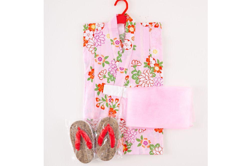 子供サイズ110 女の子浴衣 セット付き ピンク色  花柄【品番KDYG12S】