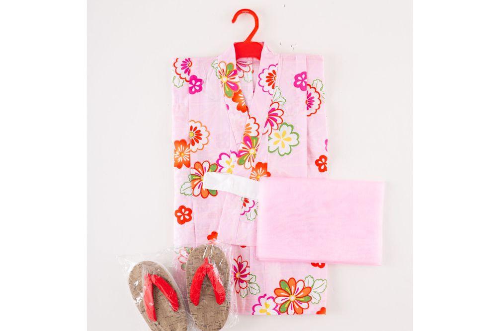 子供サイズ110 女の子浴衣 セット付き ピンク色  花柄【品番KDYG01S】