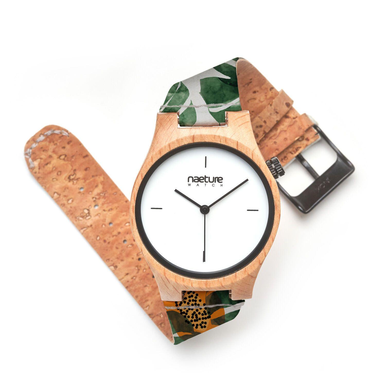 ブナの木とコルクのヴィーガン腕時計『NeatureWatch』