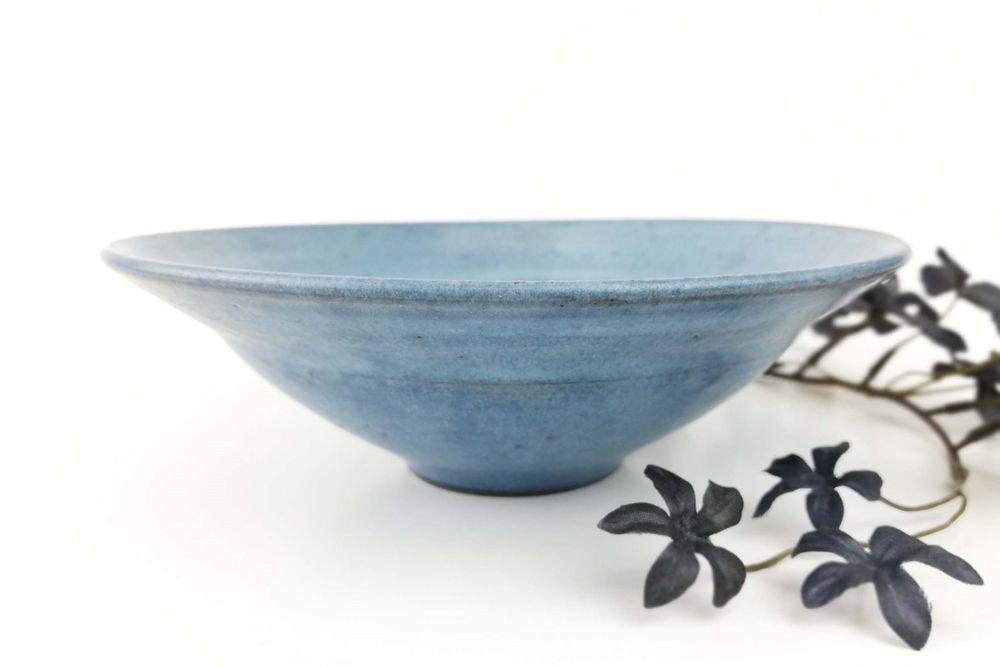 青・リム平鉢